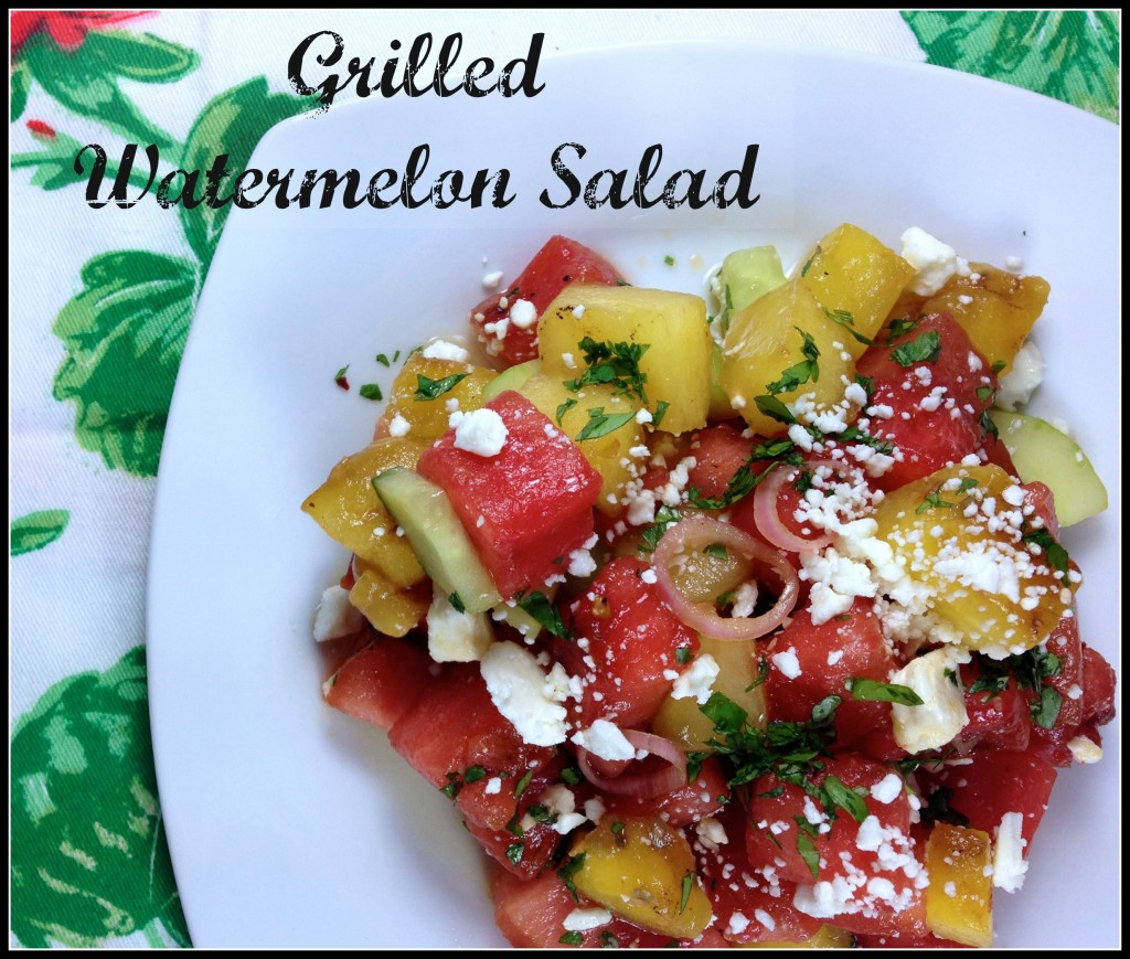 #Grilled #Watermelon #Salad with feta and cucumbers. TheHungryTravelerBlog.com #GrilledWatermelonSalad