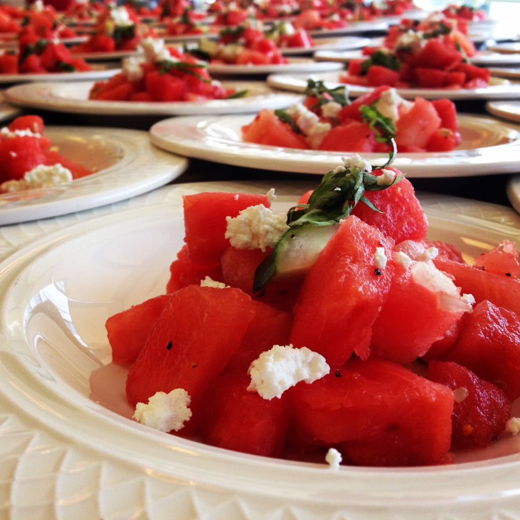 #Watermelon #Salad with feta, cucumbers, and cilantro. #GrilledWatermelonSalad