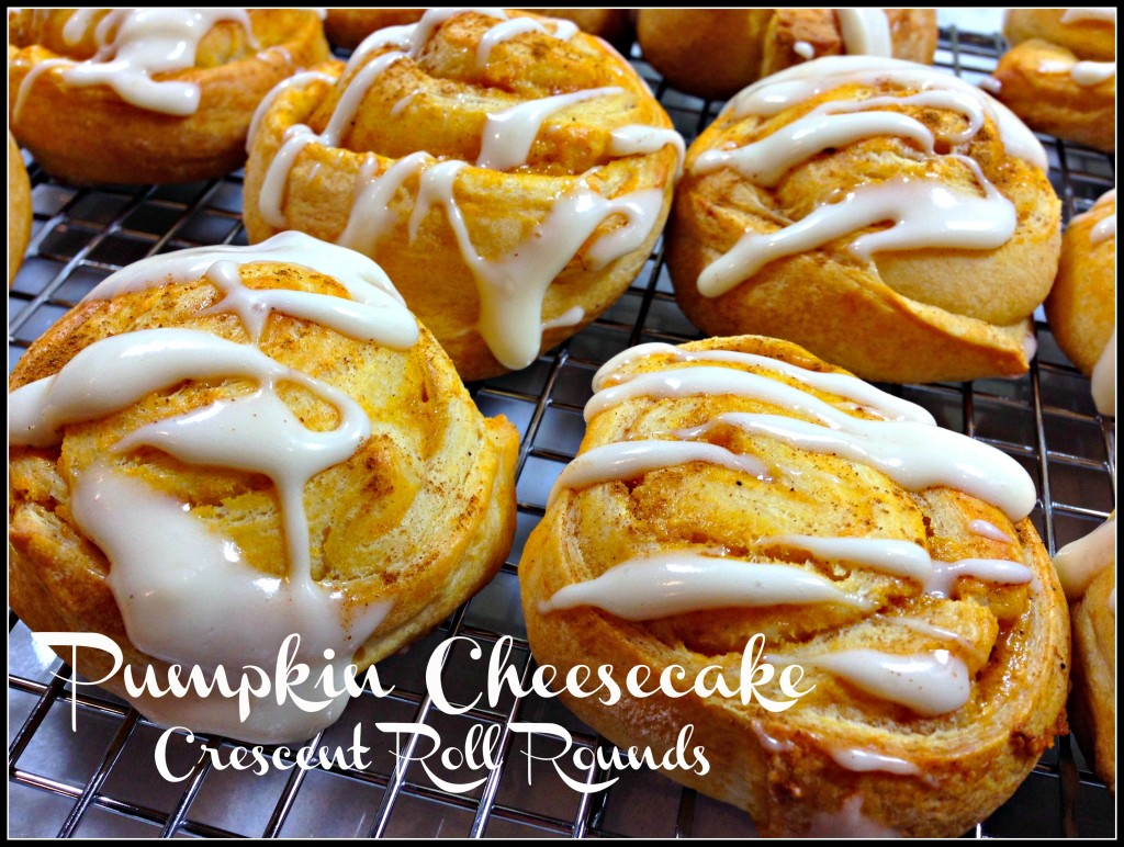 Pumpkin Cheesecake Crescent Roll Rounds - using crescent roll dough and an easy pumpkin cheesecake filling. Great for tailgates! | www.TheHungryTravelerBlog.com