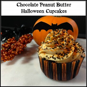 Peanut Butter & Chocolate Halloween Cupcakes #Cupcakes #Halloween #PeanutButter #Chocolate