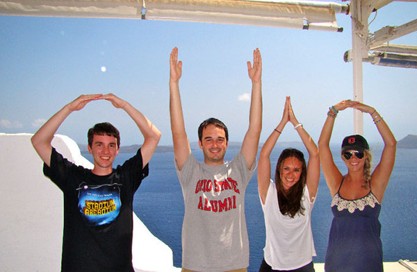 O-H-I-O with fellow Buckeyes in Santorini | The Hungry Traveler Interview with Hannah Casey: An American Expat in Dubai  | The Hungry Traveler