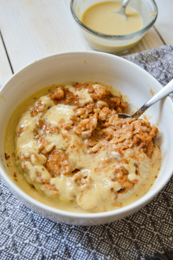 Pumpkin Oatmeal with Maple Pouring Cream | www.TheHungryTravelerBlog.com