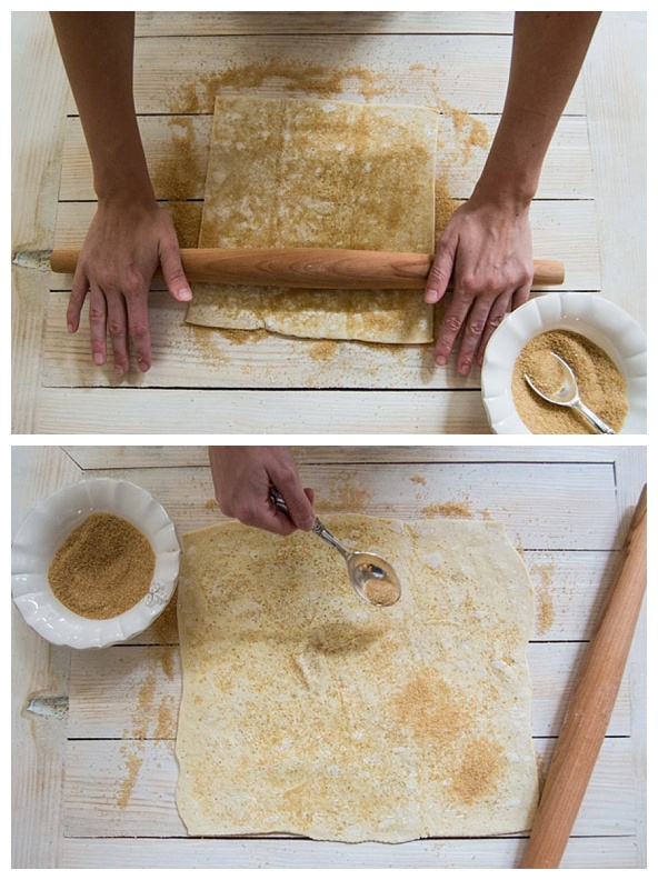 rolling out the palmier dough