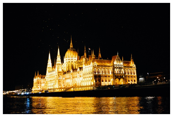 The Parliament at night on the Taste Hungary Budapest Food Tour