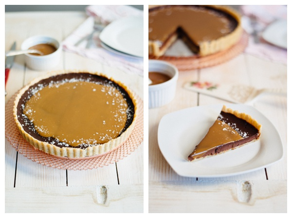 The French Salted Caramel Chocolate Tart next to a slice of the tart.