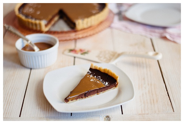 A slice of French Salted Caramel Chocolate Tart