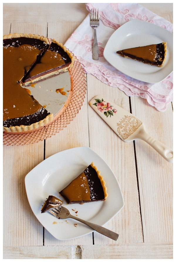 A table with slices of French Salted Caramel Chocolate Tart