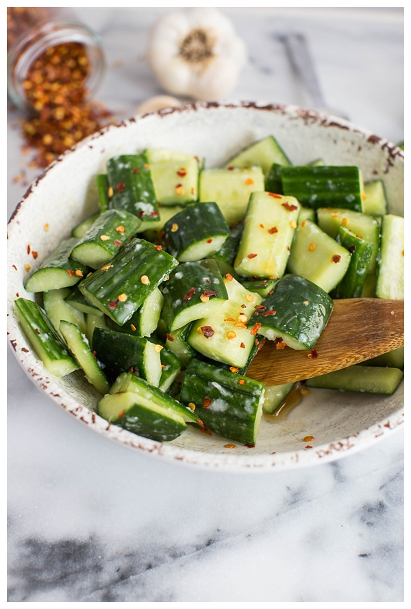 Cucumber Salad with Garlic is an easy side dish that can be thrown together with just a few ingredients. It's flavorful and healthy and can be dressed up or down for any occasion.