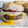 Sweet and Spicy Breakfast Sandwich with Sausage and Raspberry Preserves