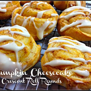 Pumpkin Cheesecake Crescent Roll Rounds - the perfect fall breakfast or treat! #pumpkin #cheesecake #fall #baking
