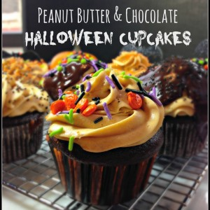 Peanut Butter & Chocolate Cupcakes for Halloween #Cupcakes #Halloween #PeanutButter #Chocolate
