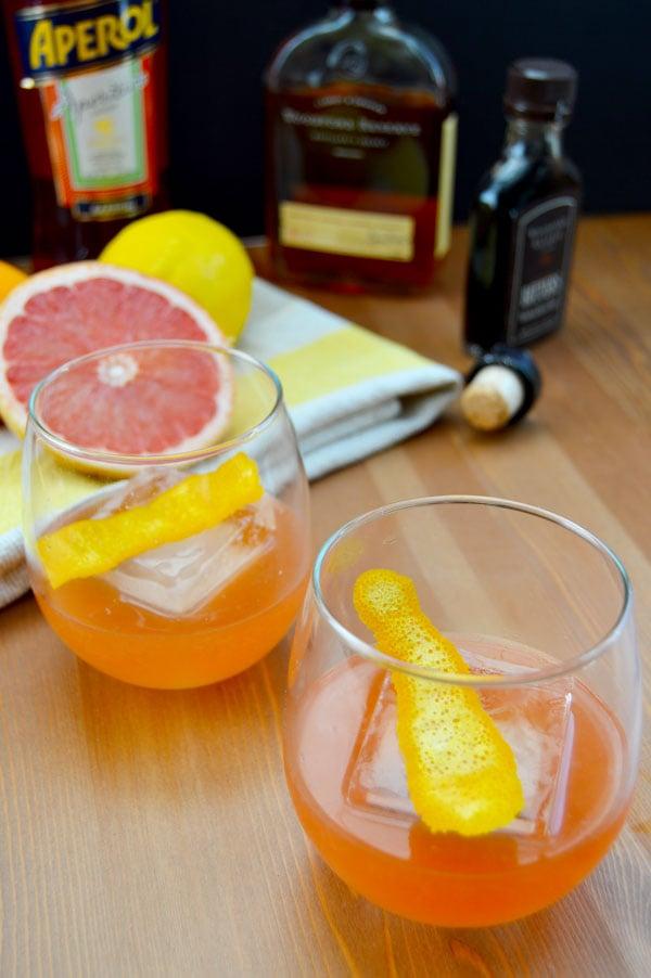 fresh citrus  aperol and bourbon cocktail