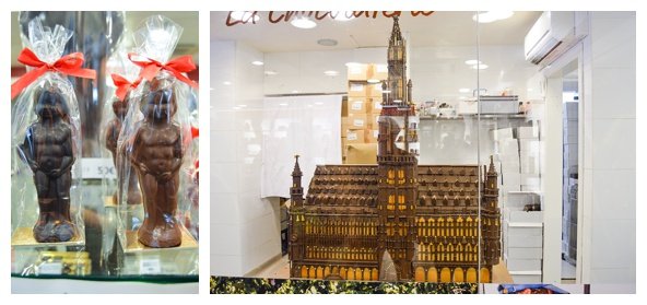 Chocolate sculptures on the Brussels Beer and Chocolate Tour