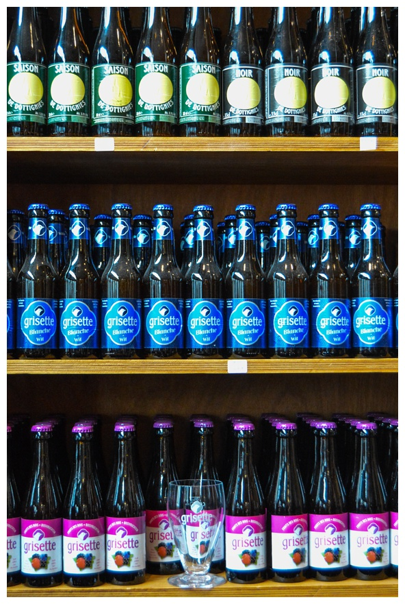 A wall of beer on the Brussels Beer and Chocolate Tour