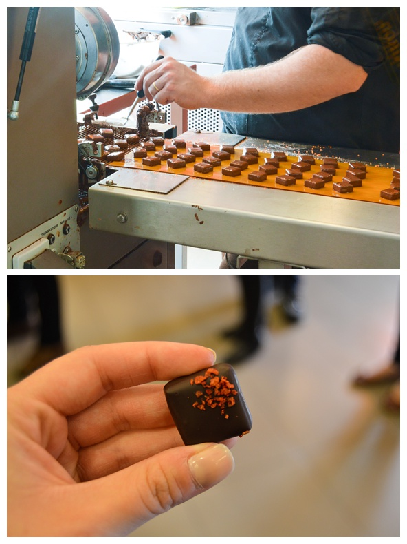 Chocolates being made at Chocopolis Chocolate Factory on the Brussels Beer and Chocolate Tour
