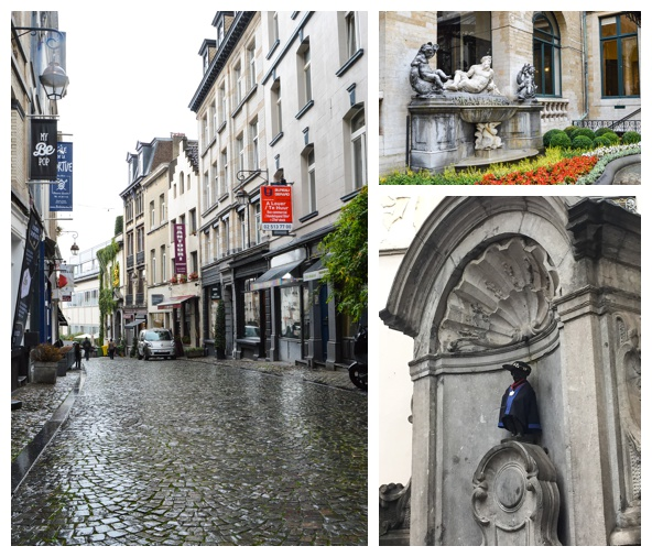 The rainy streets and the Mannekin-Pis on the Brussels Beer and Chocolate Tour