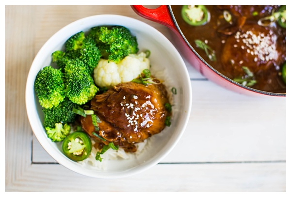 Vietnamese Caramel Chicken -- chicken thighs braised in a sweet and spicy caramel sauce with jalapeños, ginger, and scallions. Serve it with steamed veggies and rice and it's a perfect weeknight dinner.