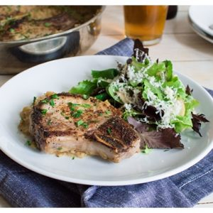 Apple Cider Marinated Pork Chops with Apple Pan Sauce -- Pork chops marinated in apple cider, seared and roasted & finished with a creamy apple pan sauce.
